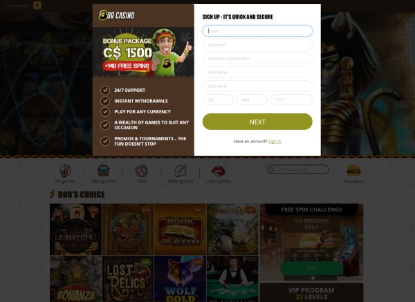 register in an online casino in Canada